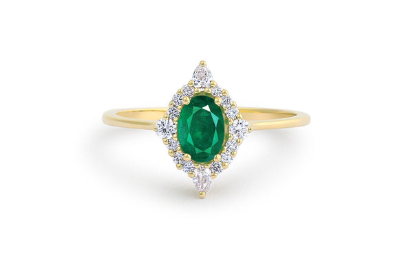 Natural oval emerald ballerina halo May birthstone engagement ring in 14k gold