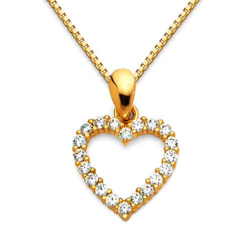 Gold Charm Necklace - 14k yellow gold 16-22in cz mini open heart charm necklace with box chain