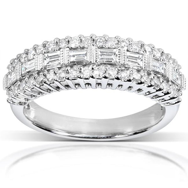 Wedding Rings For Women - Brilliant Baguette-Cut Diamond Wedding Band Ring 14KWhite Gold Baguette Diamond Rings