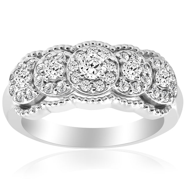 Stackable Diamond Rings - 14k white gold 1 ct tdw diamond wide halo wedding anniversary womens stackable ring