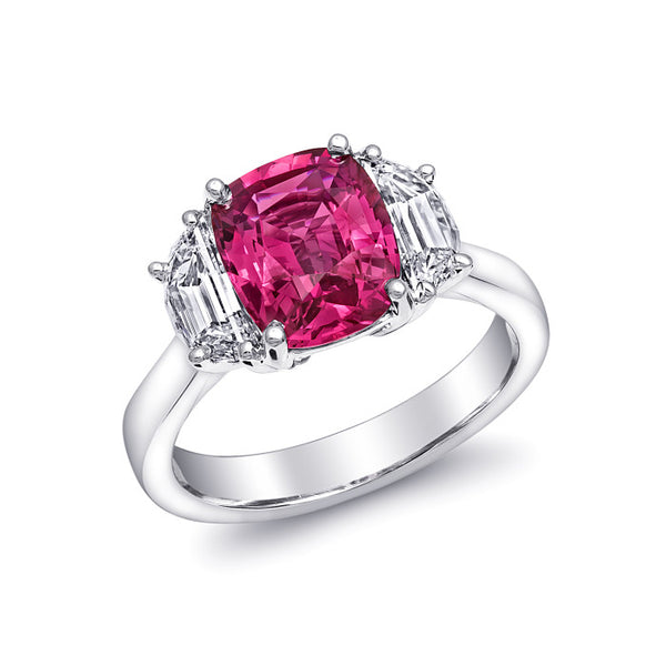 Natural pink sapphire 3.05 carats set in platinum ring with 1.01 carats diamonds