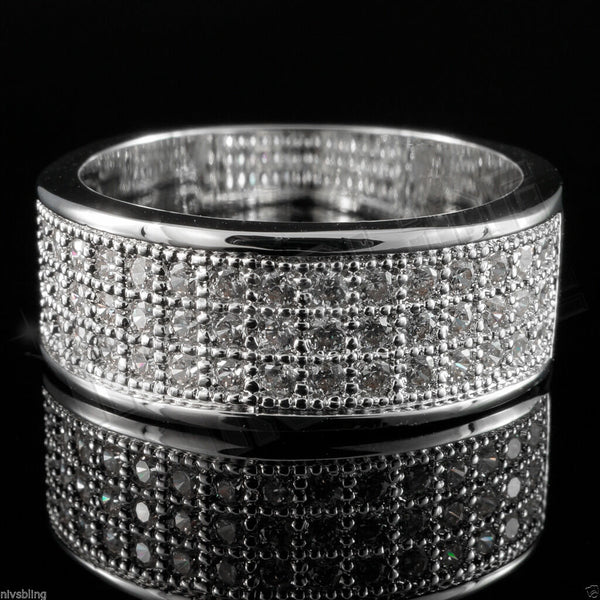 18k white gold iced out band hiphop engagement micropave cz pinky women ring