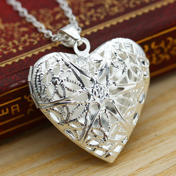 Chic picture locket hollow heart photo pendant silver chain necklace