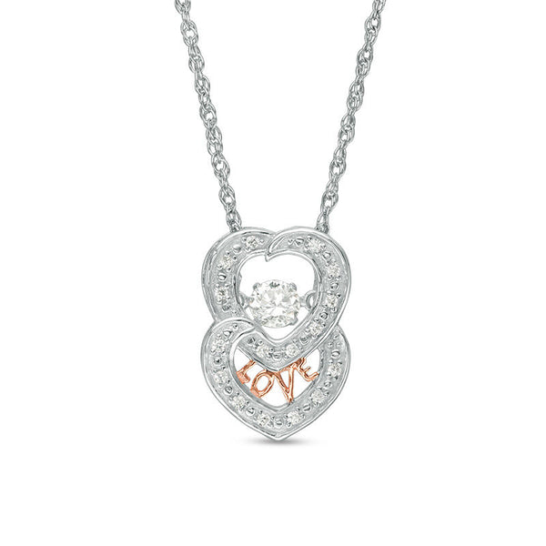 Lab-created white sapphire double heart pendant in sterling silver and 14k rose gold plate