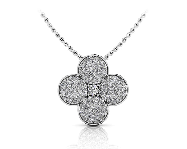 Diamond Chain Necklaces - lucky charm flower pendant in yellow white gold or platinum