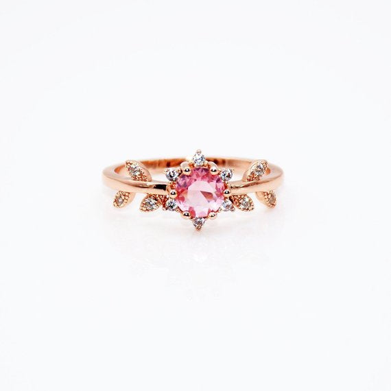 Rose Gold Rings For Women - Handcrafted Pink Cubic Zirconia Rose Gold Leaf Women's Engagement Ring