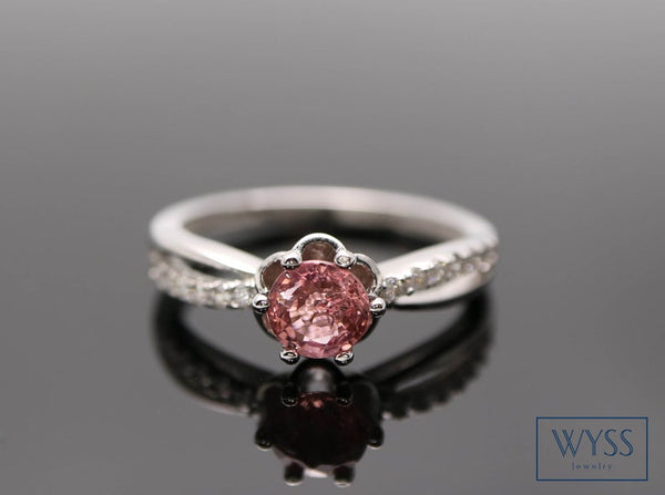 October Birthstone Rings - 925 sterling silver pink tourmaline statement October birthstone ring