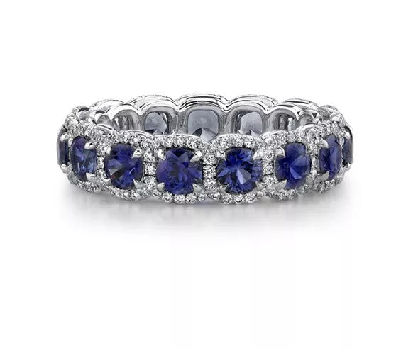 Wedding Rings For Women - Regal Sapphire Diamond Wedding Band Eternity Ring Platinum Wedding Rings For Women