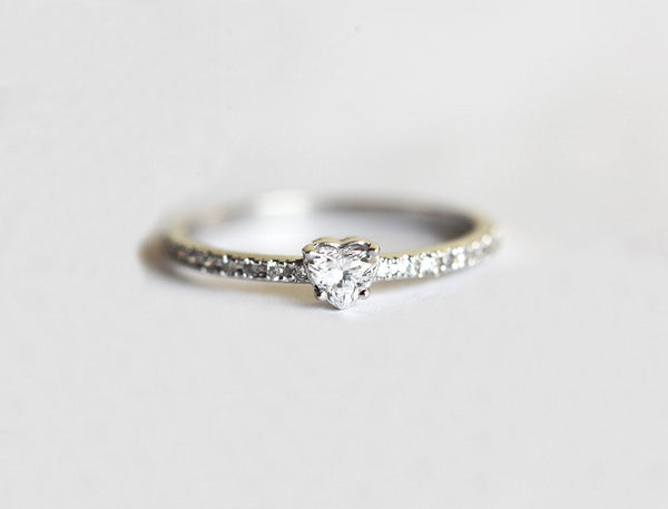 Heart Shaped Diamond Ring - heart shaped diamond ring with pave diamond band
