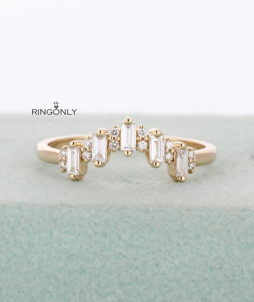 Stackable Diamond Rings - curved baguette diamond solid 14k gold stacking v wedding promise anniversary band ring