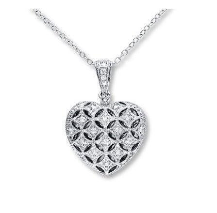 1/6 ct tw round-cut sterling silver diamond heart locket