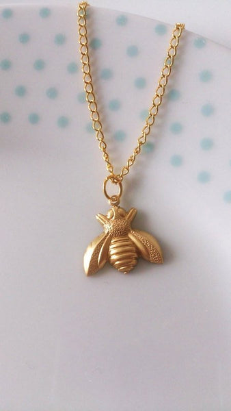 Gold Charm Necklace - cute bumblebee bee gold summer charm necklace