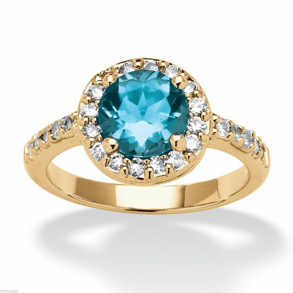 Womens yellow gold cz blue topaz December birthstone ring