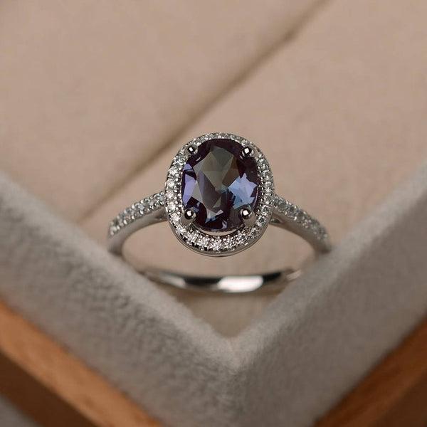 June Birthstone Rings - sterling silver oval cut color changing lab alexandrite June birthstone engagement ring