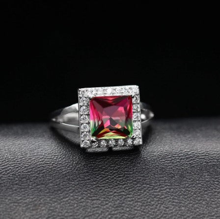 October Birthstone Rings - simulated square purple tourmaline big crystal October birthstone ring