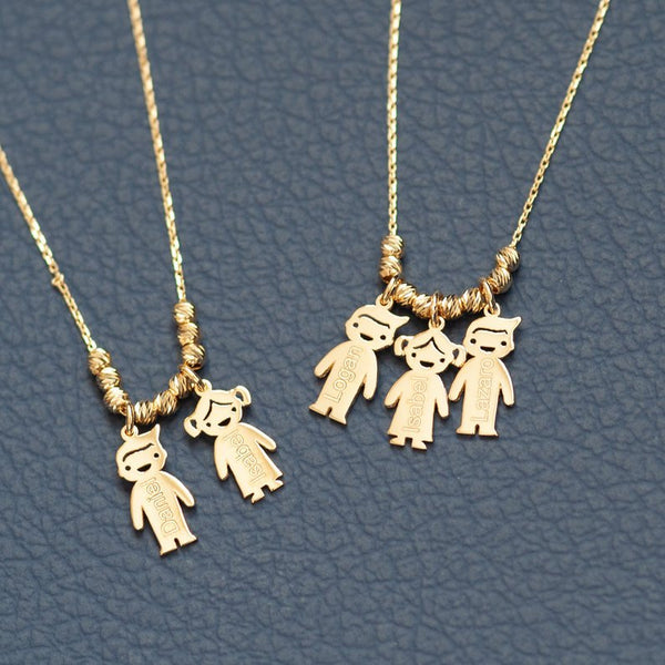 Gold Charm Necklace - boy girl 14k solid gold mother's charm personalized family necklace