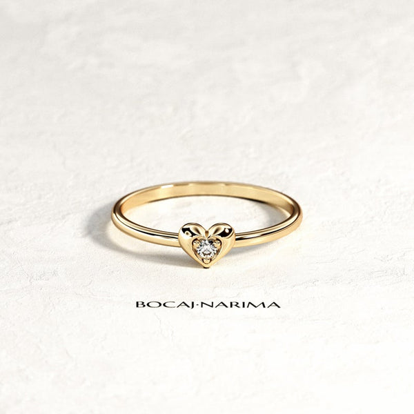Heart Shaped Diamond Ring - minimalist 14k gold heart diamond ring