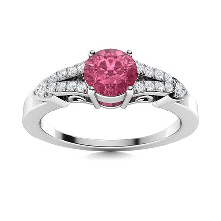 0.69 carat pink sapphire and diamond sidestone ring in 14k white gold