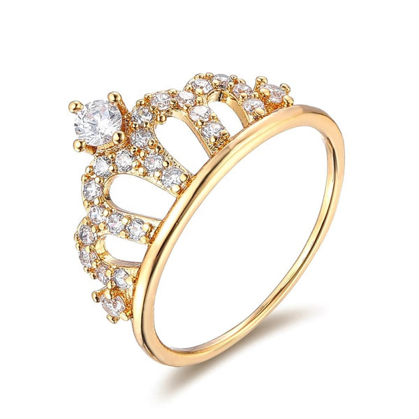 Women fashion crown copper alloy gold plated cubic zirconia ring