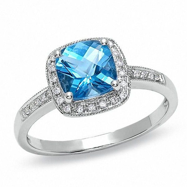 Cushion-cut blue topaz and diamond accent engagement ring in 14k white gold