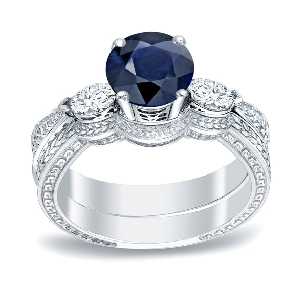 Platinum vintage 1/2ct sapphire and 1/3ct tdw 3-stone diamond engagement ring set