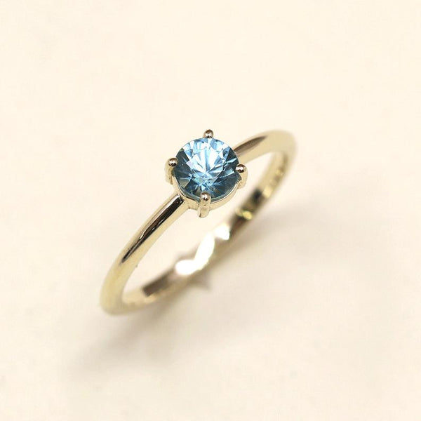 Blue zircon December birthstone solitaire wedding engagement band ring