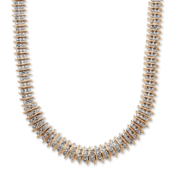 Diamond Chain Necklaces - yellow gold-plated round 1/5 cttw genuine diamond tennis necklace