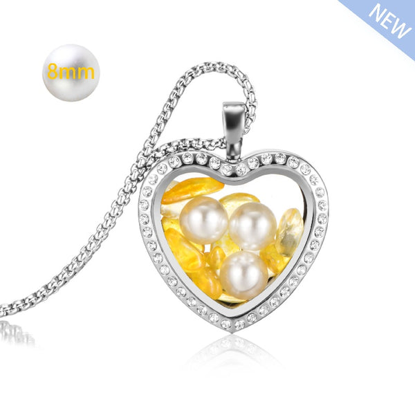 316l stainless steel rose gold heart 8mm pearl locket crystal pendant