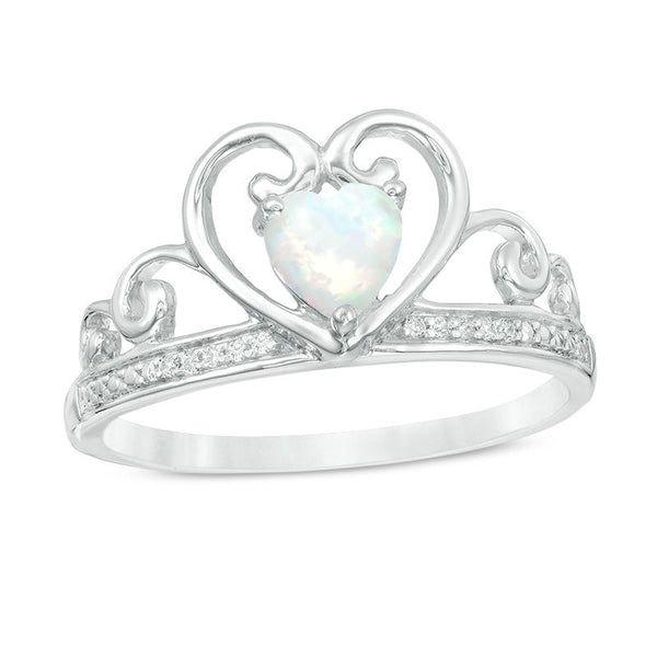 October Birthstone Rings - 5.0mm heart-shaped lab-created opal and diamond accent tiara ring in 10k white gold