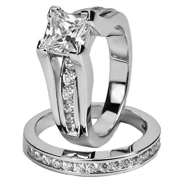 Womens stainless steel princess cut wedding engagement ring set
