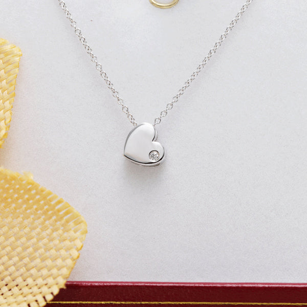 Natural diamond 14k gold heart pendant valentines promise necklace