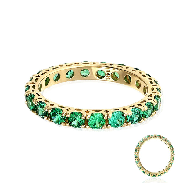 14k yellow gold 1.5ct green emerald full eternity 3mm band ring