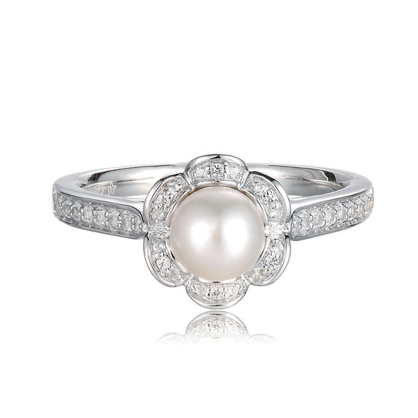 June Birthstone Rings - freshwater cultured pearl & lab-created white sapphire ring in sterling silver