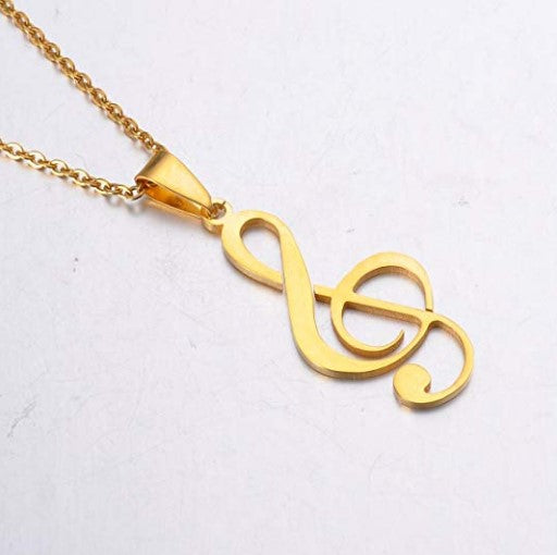 "Gold Charm Necklace - 22"" stainless steel musical music note charm pendant necklace"