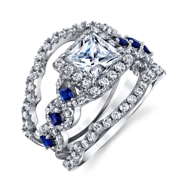 dazzling sapphire blue zirconia engagement ring with rhodium plating - wedding ring sets, wedding ring sets for her, womens wedding ring sets