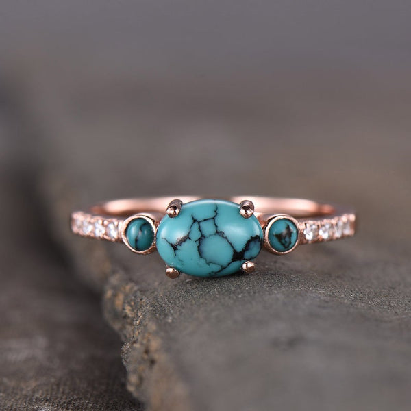 Rose gold plated oval turquoise silver 925 December birthstone promise ring