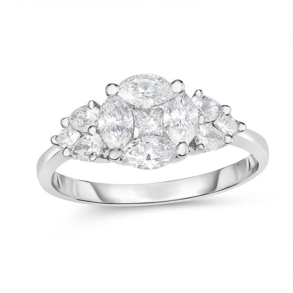 1 ct. t.w. marquise and princess-cut composite diamond heart-sides engagement ring in platinum