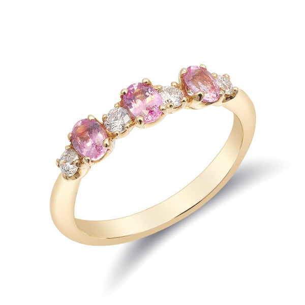 Natural pink sapphires 0.60 carats set in 18k yellow gold ring with 0.20 carats diamonds