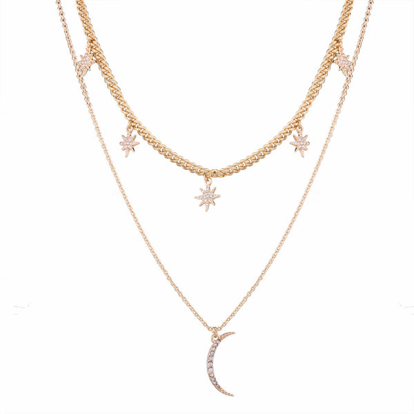 14k gold 2 layer moon and star pendant necklace for women
