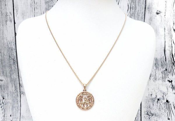 Gold Charm Necklace - twins zodiac gemini yellow gold plated charm necklace