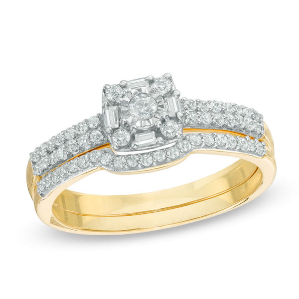 charming yellow gold diamond frame engagement rings set for the bride - wedding ring sets, wedding ring sets for her, womens wedding ring sets