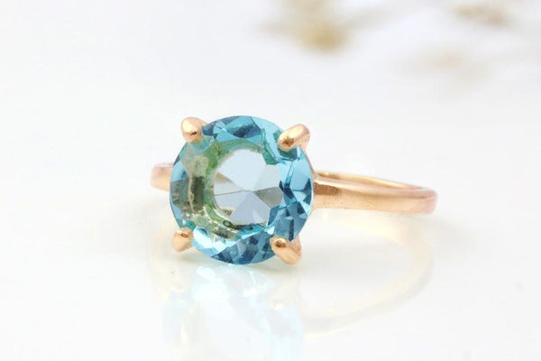 October Birthstone Rings - stacking rose gold blue topaz October birthstone ring