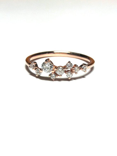 Rose Gold Rings For Women - Dainty Handcrafted Diamond Cluster 14K Solid Gold Women's Fashion Ring