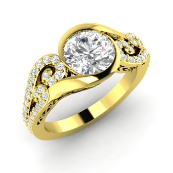 1.31 carat white topaz and diamond sidestone engagement ring in 18k yellow gold