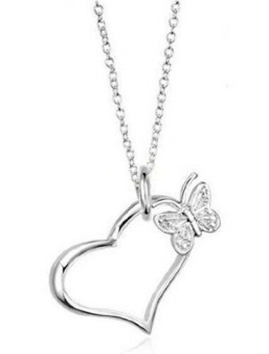Open heart and butterfly pendant (chain included) necklace for women / girls