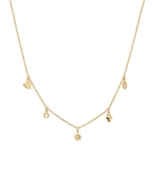 Gold Charm Necklace - 14k solid gold charm necklace