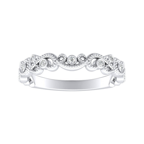 Stackable Diamond Rings - 0.06ctw vintage carved stackable diamond wedding band