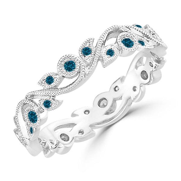 Stackable Diamond Rings - 10k gold 1/4ctw stackable vintage floral vine blue diamond wedding band