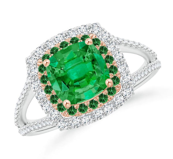 Cushion emerald double halo split shank two tone ring