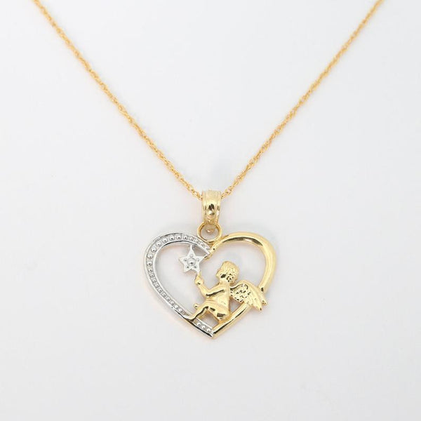 14k yellow & white gold angel in heart pendant necklace